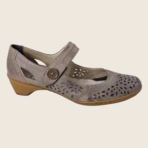 Rieker Gray Perforated Leather Mary Jane Chunky Heel Shoes